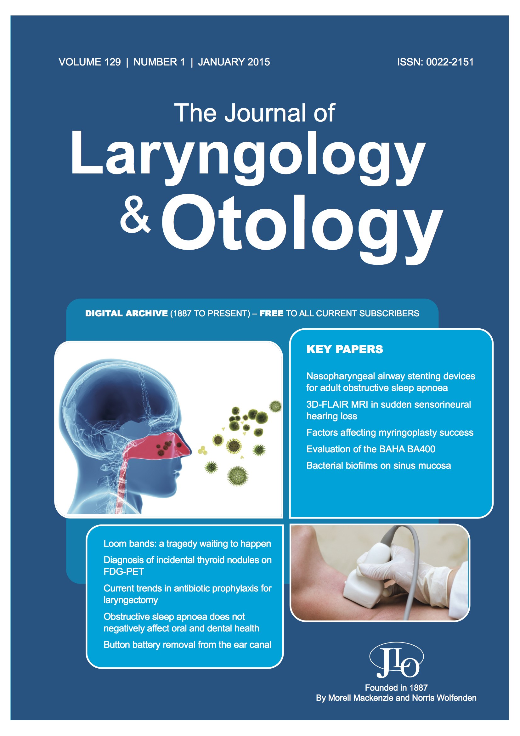The Journal of Laryngology and Otology Issue January 2015