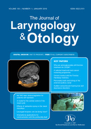 The Journal of Laryngology and Otology Issue October 2016