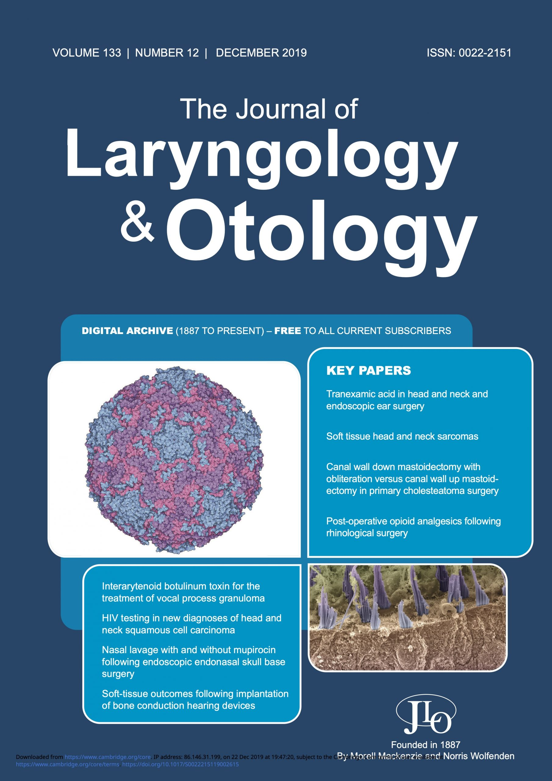 The Journal of Laryngology and Otology December 2019 Issue