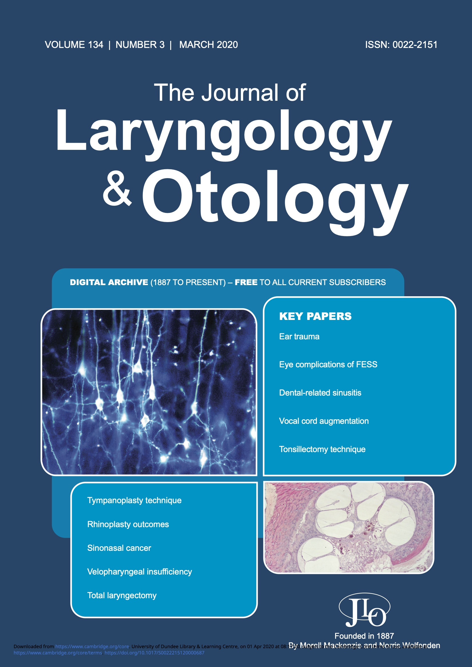 The Journal of Laryngology and Otology March 2020 Issue