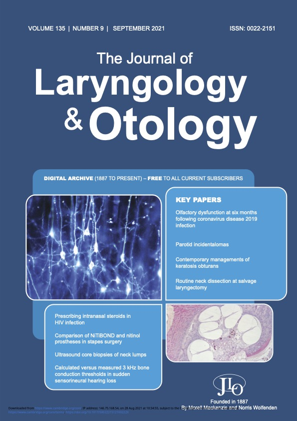 The Journal of Laryngology and Otology September 2021 Issue